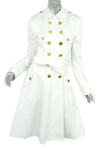 Dolce&Gabbana White Belted Military Trench Flared Skirt Dress Jacket Trench Coat