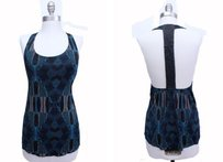 Dolce Vita Urban Outfitters Black Blue Faux Leather T Back Halter blue multi Halter Top
