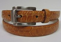 Domenico Vacca Domenico Vacca Camel Tone Genuine Alligator Thin Belt Metal Buckle 90262a