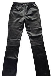 Donnief Faux Leather Leather New Straight Pants Black
