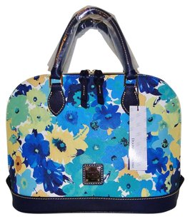 Dooney & Bourke Flower Leather Embossed Blue Brand New Satchel in Marine