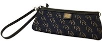 Dooney & Bourke Lettering Leather Trim Wristlet in Black and Gold