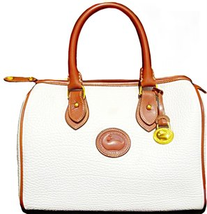 Dooney & Bourke Vintage New Rare Satchel in White w/ British Tan Leather