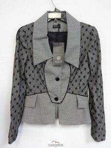 Douglas Hannant Douglas Hannant Black White Hounds Tooth Dot Lace Jacket Rt