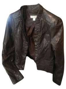 Dress Barn Ruffle Faux Leather Cropped Chocolate Leather Jacket