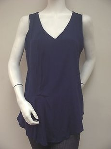 DREW 100 Silk Navy Pleated Front Black Knit Back Top Blue