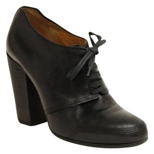 Dries van Noten Leather High Chunky Heel Ankle Pump Black Boots