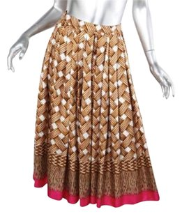 DSquared Womens Brown Multicolor Silk Basketweave Print Pleated 382 Skirt