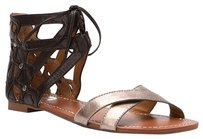 DV by Dolce Vita Gladiator Open Toe Dark Silver and Black Sandals
