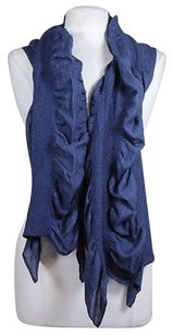 Echo Echo Womens Navy Silver Striped Scarf One Cotton