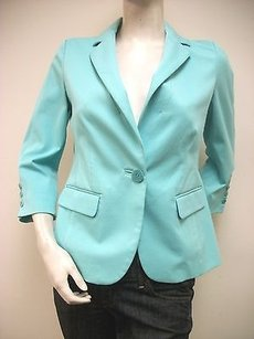 ecru Ecru Turquoise Aqua Fitted Jacket Blazer 2171-ds Unlined 34 Sleeves
