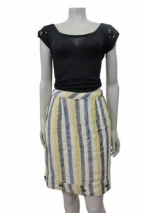 Edme & Esyllte Linen Yellow Blue Striped Cuffed Hem Trim Skirt Blue yellow
