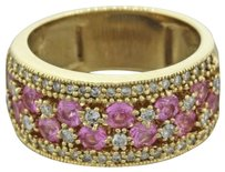 EFFY Effy Designer 14k Yellow Gold 1.20ctw Pink Sapphire .64ctw Diamond Band Ring