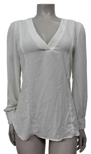 Eight Sixty Semi Sheer V Neck Pullover Top White