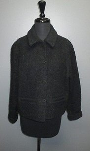 Eileen Fisher Womens Wool Blend Button Up Cropped Collared 346 Coat