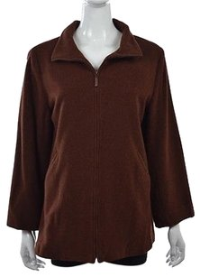Eileen Fisher Womens Brown Basic Textured Speckled Coat Multi-Color Jacket