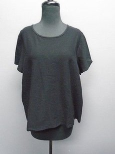 Eileen Fisher Short Sleeved Solid Stretchy Scoop Neck 4215a Top Black