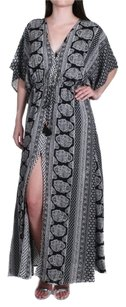 Black & White Maxi Dress by Elan Kaftan Maxi Kimono Elastic