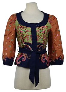 Elevenses Womens Green Calico Paisley Basic Casual Linen Blend Navy Jacket