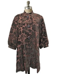 Elevenses Anthropologie Brown Floral Brocade Swing Coat Mandarin Collar Tunic brown burgundy Jacket