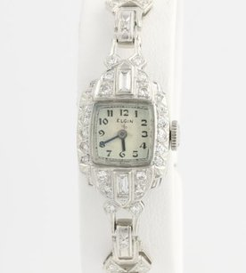 Elgin Vintage Elgin Diamond Womens Watch 6 - 900 Platinum High Karat Natural 1.38ctw