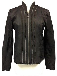 Elie Tahari Polyester Leather Trimmed Lined Multi Zip Sma 7786 Black Jacket