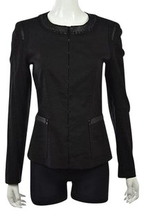 Elie Tahari Womens Basic Textured Linen Casual Coat Black Jacket