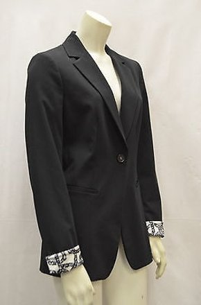Elie Tahari Black Single Button Blazer Jacket Silky Print Cuffs 140712mk on sale