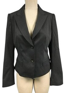 Elie Tahari Elie Tahari Dark Gray Wool Blend Two Button Collared Blazer Sma10055