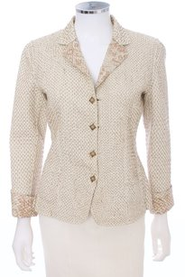 Elie Tahari Quilted Reversible Cotton TAN Blazer