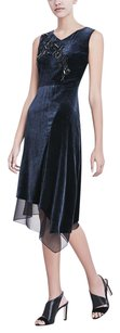 Elie Tahari Sequin Velvet Midi Navy Dress