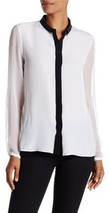Elie Tahari Silk Sheer Top White