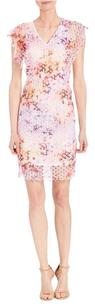 Elie Tahari short dress Multi Telene Flutter Sleeve Pink on Tradesy