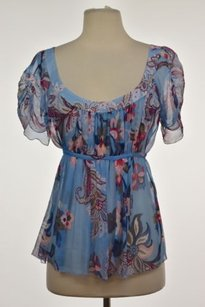 Elie Tahari Womens Floral Short Sleeve Sheer Shirt Top Blue