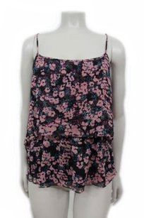 Elizabeth and James Floral Cutout Tiered Silk Top black rose