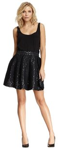 Elizabeth and James Lace Pleated Mini Metallic Mini Skirt Black