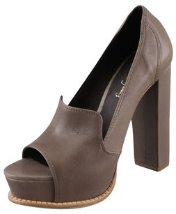 Elizabeth and James Platform Hidden Platform Open Toe Taupe Pumps