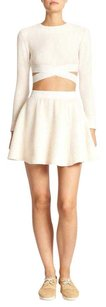 Elizabeth and James Textured Flare Mini Knit Mini Skirt Ivory