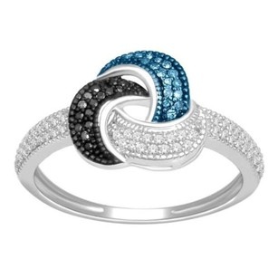 Elizabeth Jewelry 0.25 Carat Blue, Black and White Diamond Ring 925 Sterling Silver