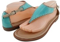 Ella Moss Gianna Aqua Beige Womens Designer Open Toe Thong 8.5 Multi-Color Sandals