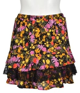 Ella Moss Womens Floral Tiered Casual Above Knee Skirt Yellow
