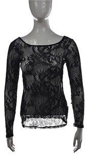 Ella Moss Womens Semi Sheer Floral Lace Shirt Top Black