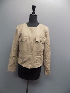 Ellen Tracy Full Zipper Snap Down Round Neck 1659a Beige Jacket