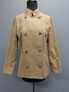 Ellen Tracy Company Plaid Double Breasted Sm12954 Tan And Brown Jacket