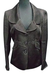 Ellen Tracy Ellen Tracy Black Cotton Blend Houndstooth Lined Blazer Jacket 2940a