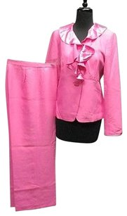 Ellen Tracy Ellen Tracy Bright Pink Silk Ruffle Neck Jacket Pant Suit Sma 3709