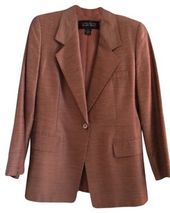 Ellen Tracy Sharkskin Mother Of Pearl Salmon Jacket