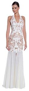 Ema Savahl White Handpainted Gown Dress