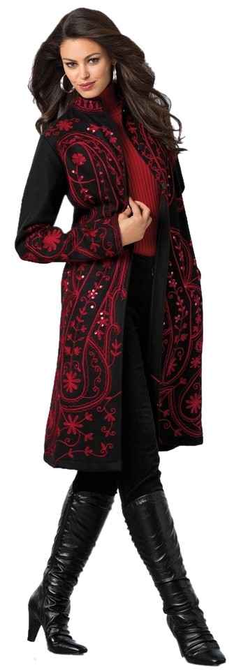 Embroidered Wool Coat Different Sizes