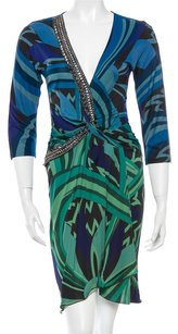 Emilio Pucci Black Multicolor Green Dress